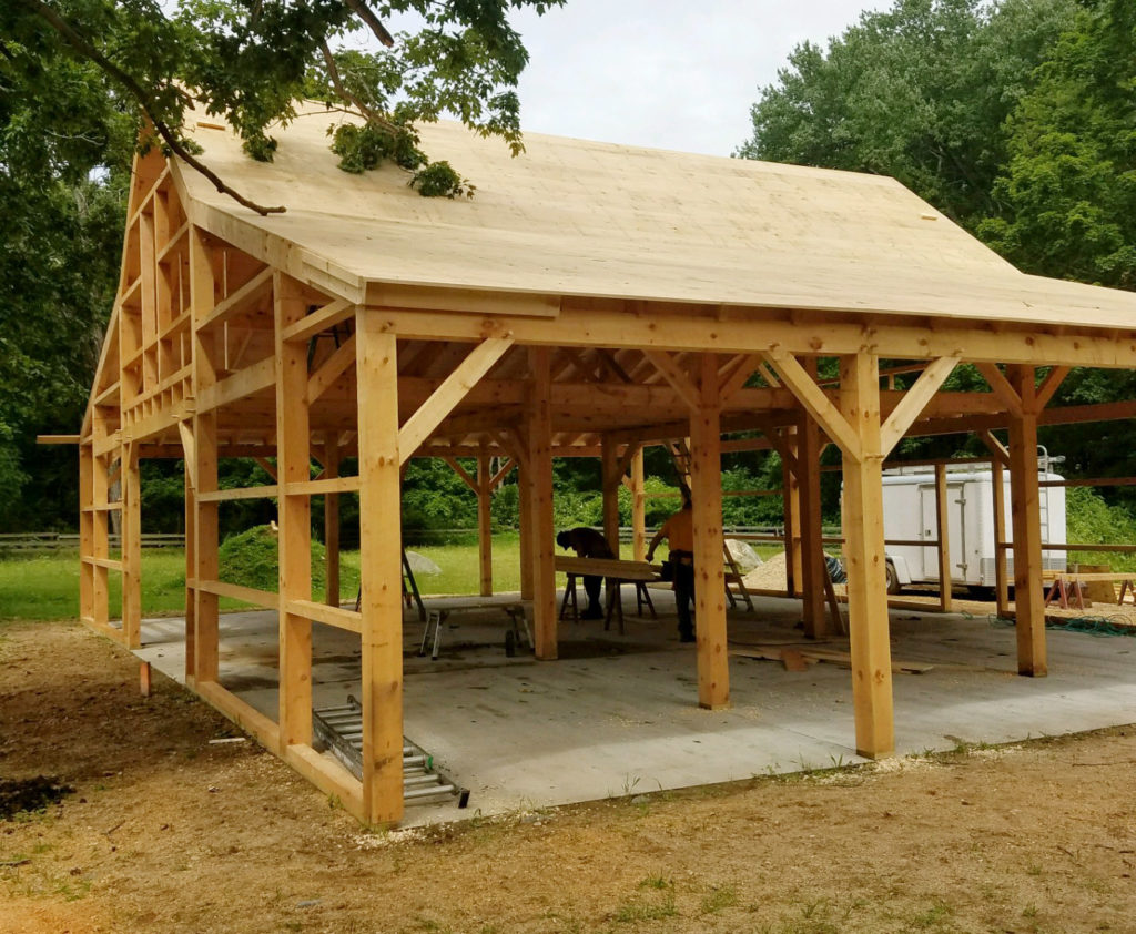 Heritage Post and Beam Country Barn Garage Construction